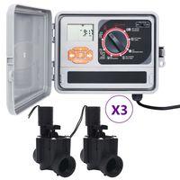 vidaXL Controlador de riego para jardín con 2 válvulas solenoides