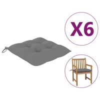 vidaXL Cojines de silla 6 unidades tela gris 50x50x7 cm