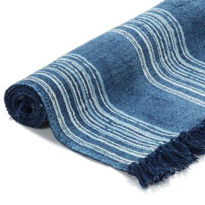 vidaXL Alfombra de algodón Kilim con estampado azul 160x230 cm