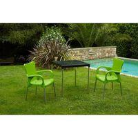 Mesa Resina Negra / Aluminio 70X70 Cm - Gardenlife - 4026 06