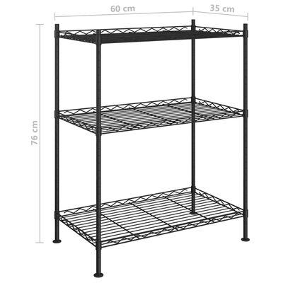 vidaXL Estantería de almacenaje 3 niveles negra 60x35x76 cm 150 kg