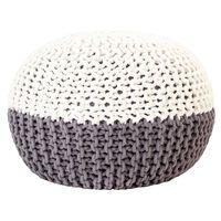 vidaXL Puf tejido a mano de algodón gris antracita y blanco 50x35 cm