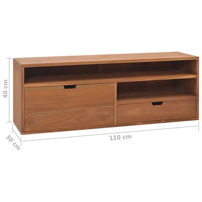 vidaXL Mueble para TV madera maciza de teca 110x30x40 cm