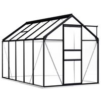 vidaXL Invernadero con estructura de aluminio gris antracita 5,89 m²