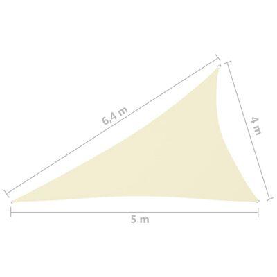 vidaXL Toldo de vela triangular de tela oxford color crema 4x5x6,4 m
