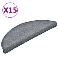 vidaXL Alfombras de peldaños de escalera 15 uds gris azul 56x17x3 cm