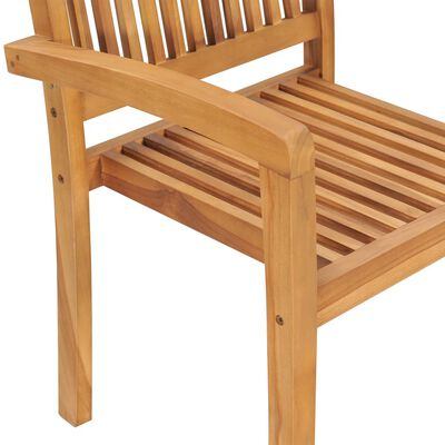 vidaXL Sillas de jardín apilables 6 uds madera de teca con cojines