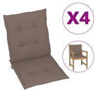 vidaXL Cojines para sillas de jardín 4 unidades gris taupe 100x50x7 cm