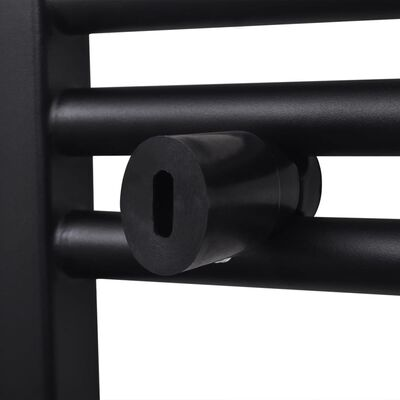 vidaXL Radiador toallero de baño curvo negro 480 x 480 mm
