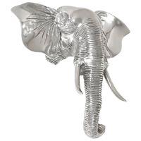 vidaXL Figura cabeza de elefante aluminio macizo 38x19x36 cm plateada