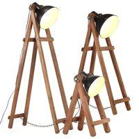 vidaXL Lámpara de pie 3 pzas madera maciza de mango negro E27
