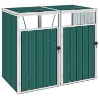 vidaXL Cobertizo doble contenedor de basura acero verde 143x81x121 cm
