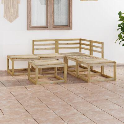 vidaXL Set de muebles jardín 6 piezas madera de pino impregnada verde