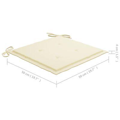 vidaXL Sillas de jardín 2 uds madera maciza de teca con cojines crema