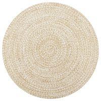 vidaXL Alfombra hecha a mano de yute blanca y natural 90 cm