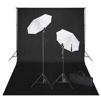 vidaXL Kit de estudio fotográfico telón fondo negro 600x300 cm y luces