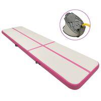 vidaXL Esterilla inflable de gimnasia con bomba PVC rosa 700x100x20 cm