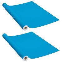 vidaXL Láminas autoadhesivas muebles 2 uds PVC azul celeste 500x90 cm