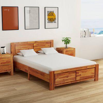 vidaXL Estructura de cama con mesitas de noche acacia marrón 140x200cm