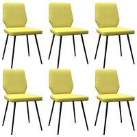 vidaXL Sillas de comedor 6 unidades de tela amarillo lima