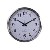 Perel Reloj de pared blanco y plateado 50 cm
