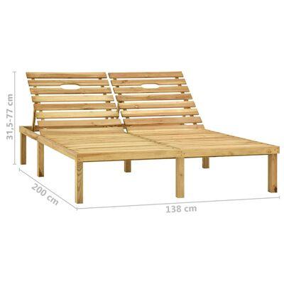 vidaXL Tumbona doble y cojines madera de pino impregnada