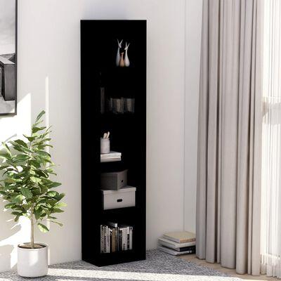 vidaXL Estantería librería 5 niveles de aglomerado negro 40x24x175 cm