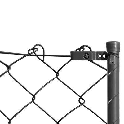 vidaXL Valla de tela metálica con postes y accesorios 0,8x15 m gris