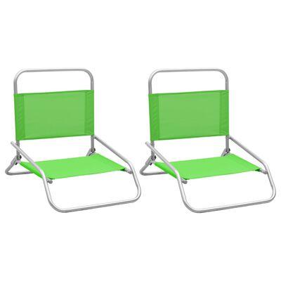 vidaXL Sillas de playa plegables 2 unidades tela verde