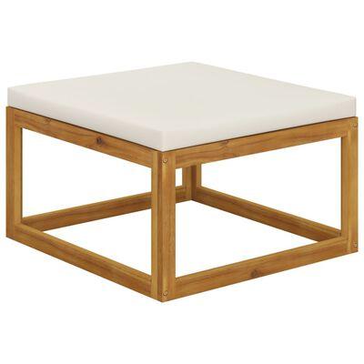 vidaXL Muebles de jardín 6 pzas cojines crema madera maciza de acacia