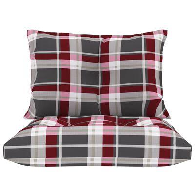 vidaXL Cojines para sofá de palets 2 unidades tela a cuadros rojos