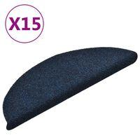 vidaXL Alfombrilla autoadhesiva escalera 15 uds 56x17x3 cm azul marino