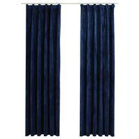 vidaXL Cortinas opacas ganchos 2 pzas terciopelo azul oscuro 140x245cm