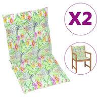 vidaXL Cojines para sillas de jardín 4 uds estampado hojas 100x50x4 cm