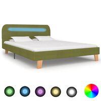 vidaXL Estructura de cama con LED tela verde 140x200 cm