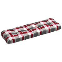 vidaXL Cojín de sofá de jardín patrón de cuadros tela rojo 120x40x12cm