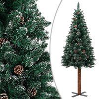 vidaXL Árbol de Navidad estrecho con madera real y nieve 210 cm verde
