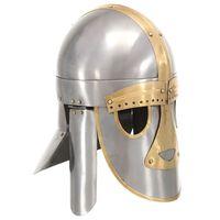 vidaXL Réplica de casco medieval antiguo LARP acero plateado
