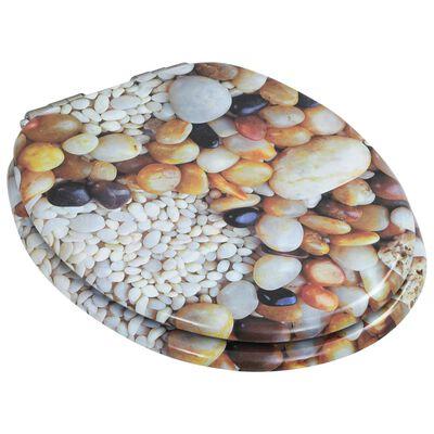 vidaXL Asiento inodoro WC 2 uds tapa cierre suave MDF diseño piedras
