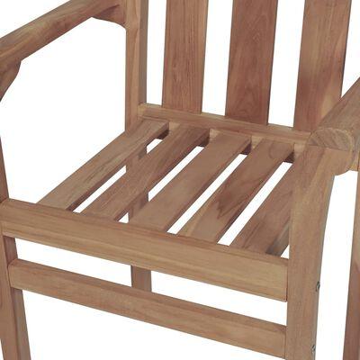 vidaXL Sillas de jardín apilables 8 uds madera maciza teca con cojines