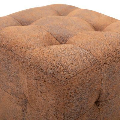 vidaXL Puf 2 unidades piel de ante artificial marrón 30x30x30 cm