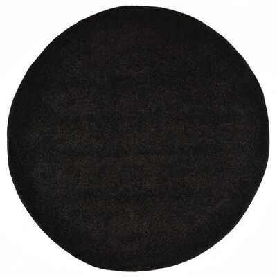 vidaXL Alfombra de pelo negro 120 cm