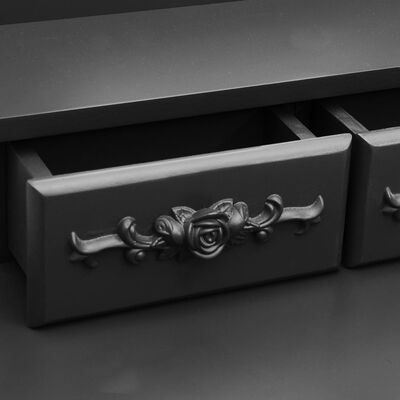 vidaXL Juego de tocador y taburete madera paulownia negro 50x59x136 cm