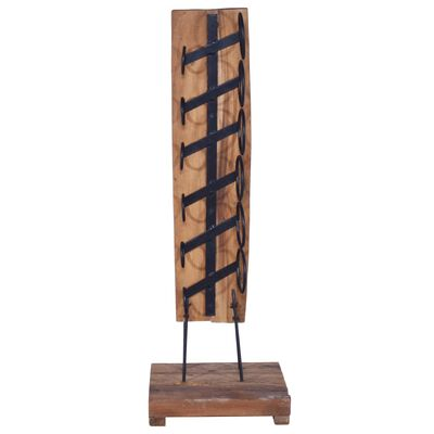 vidaXL Botellero para 6 botellas madera maciza de roble 35x35x100 cm