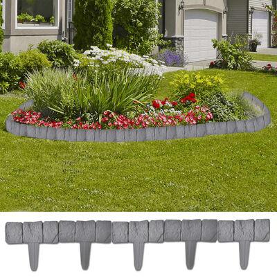 Valla Plástica De Jardín / Césped Piedra Efecto 41 Piezas 10 M