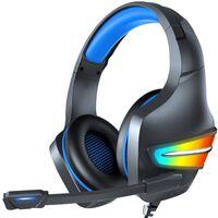 Auriculares Para Juegos Rgb De 3,5 Mm Con Micrófono Negro / Azul