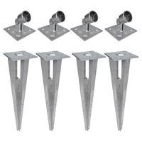 vidaXL Clavijas de postes puntales 4 unidades acero