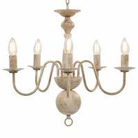 vidaXL Lámpara de araña blanco antiguo 5 bombillas x E14