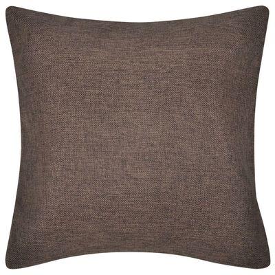4 fundas marrones para cojines de imitación de lino, 50 x 50 cm