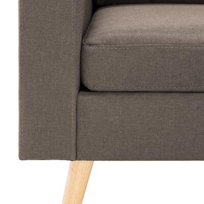 vidaXL Sofá de 3 plazas con reposapiés de tela gris taupe